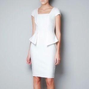 Zara White Cap Sleeve Peplum Dress